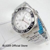 BLIGER 43 MM Branco Mostrador Preto de Cerâmica Moldura Rotativa Função GMT Estéril Sapphire Luminous Marcas Relógio Dos Homens Movimento Automático