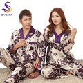 Lovers Long-sleeve Sleepwear Spring Autumn Silk Lounge Male Women's Plus Size Satin Pajamas Set Couples Purple Silk Nightgowns