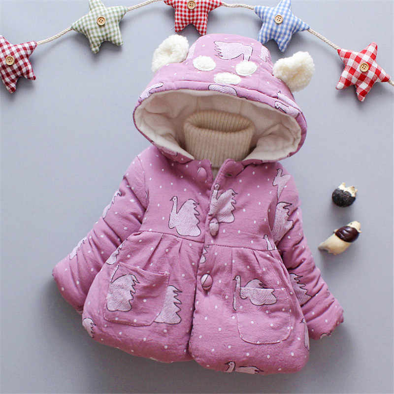 BibiCola winter 2018 girls jacket fashion cartoon cotton clothes children plus velvet warm coat winter thicken hoodie jackets