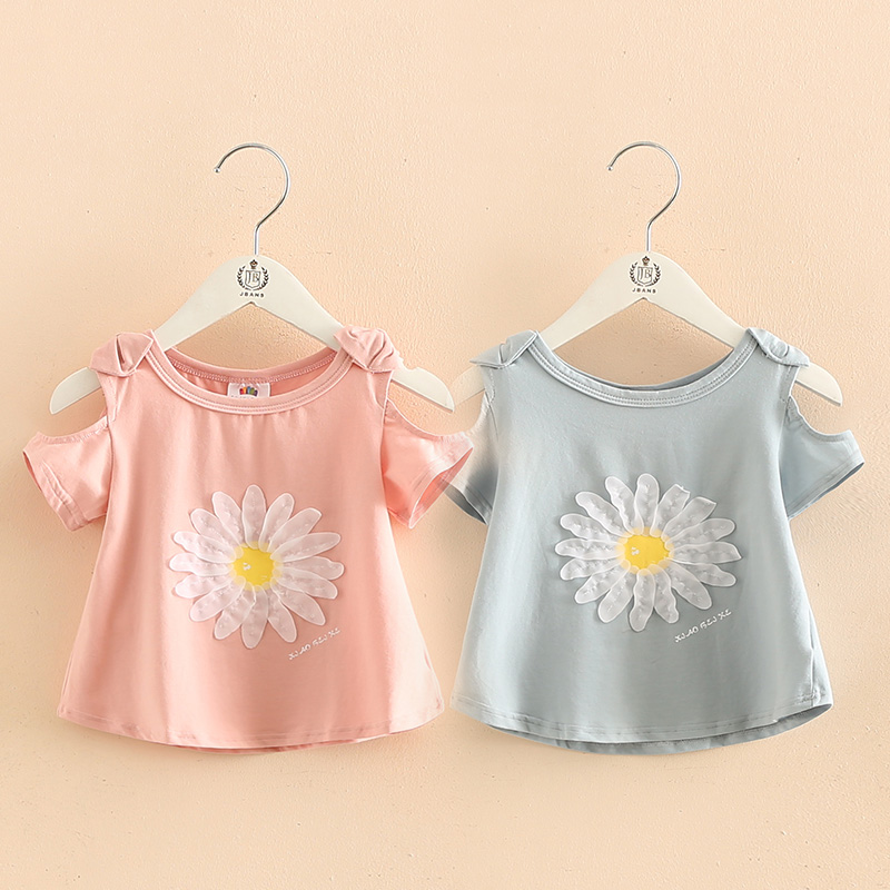 2018 Heißer Sommer Neue Design Baumwolle Prinzessin Kurzarm Oansatz Strapless Shouler Floral Nette Kinder Kinder Baby Mädchen T-shirt