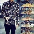stylish print floar flower long sleeve asutumn spring slim fit leisure men shirt men's clothing lapel collar man camisa