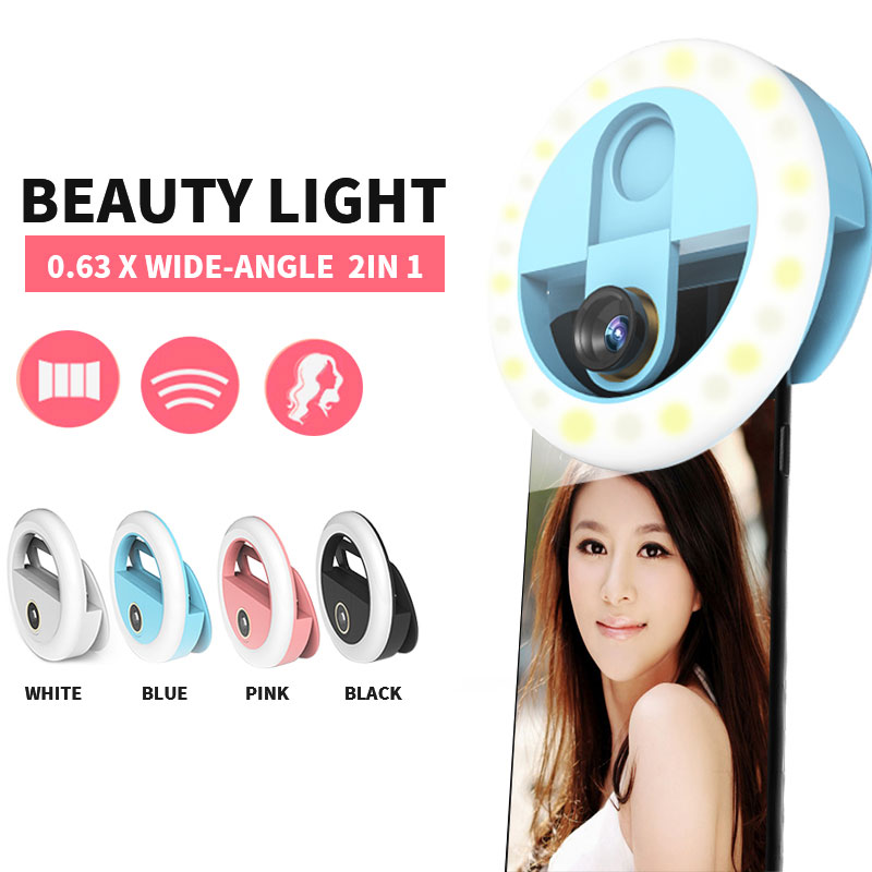 Beauty Phone lens for iPhone Samsung Xiaomi Selfie Ring Light Flash Led Fill Light Lamp Camera Portable Wide Angle Macro Lens