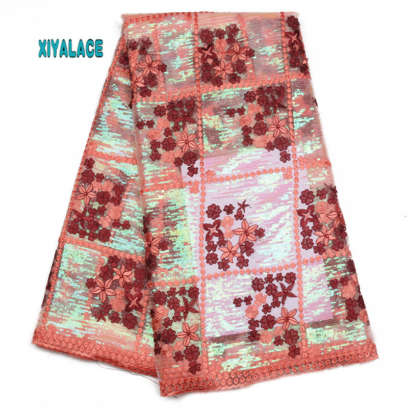 African Lace Fabric Nigerian Newest Embroidery With Stones 3D Flower Beaded African Tulle Lace For Wedding Party Dress YA1832B-1