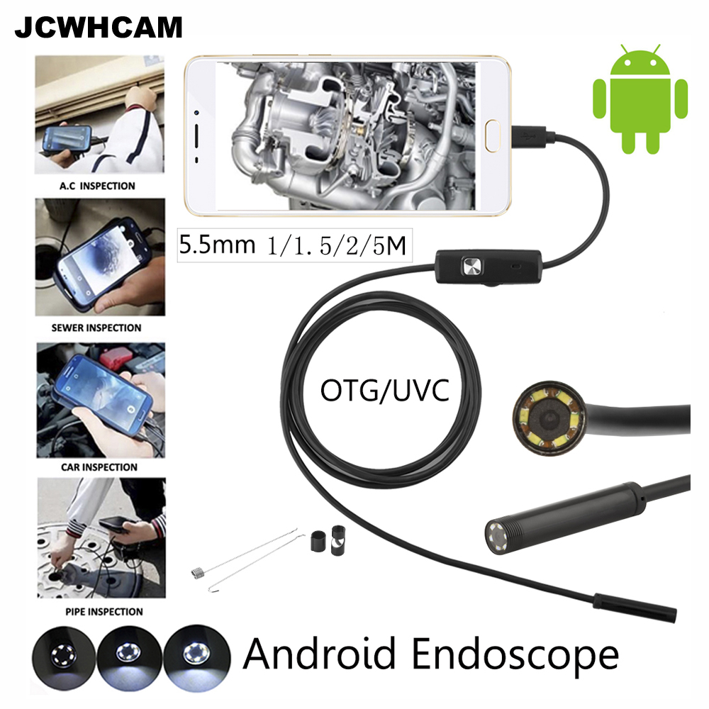 JCWHCAM 100pcs 5M 3.5M 2M 1M mini USB Android Phone Endoscope Camera IP67 Waterproof Snake Tube Inspection USB Borescope  Camera eyoyo nts200 endoscope inspection camera with 3 5 inch lcd monitor 8 2mm diameter 2 meters tube borescope zoom rotate flip