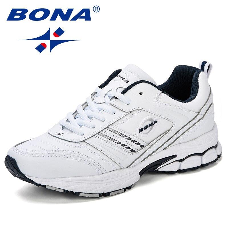 BONA Novos Tênis De Grife Homens Sapatos Casuais Couro Rachado Homens Chaussure Homme Zapatillas Moda Plus Size Confortável Calçado