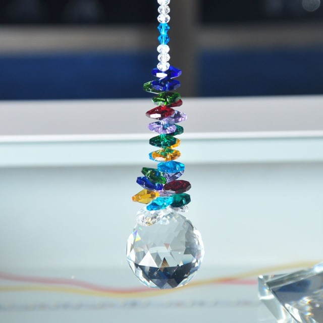 H&D Chakra Sun Catcher 40mm Clear Crystal Ball Prism Rainbow Octagon Beads Ornaments Hanging Suncatcher