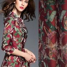 Venta caliente de la moda Europea y Americana importación aves jacquard tela para vestido de abrigo tissu au metros brillante paño BRICOLAJE