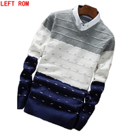 New Fashion Men Fake Two Piece Casual Pullovers Men Jumpers Sweaters Autumn And Winter Bottoming Pullover
