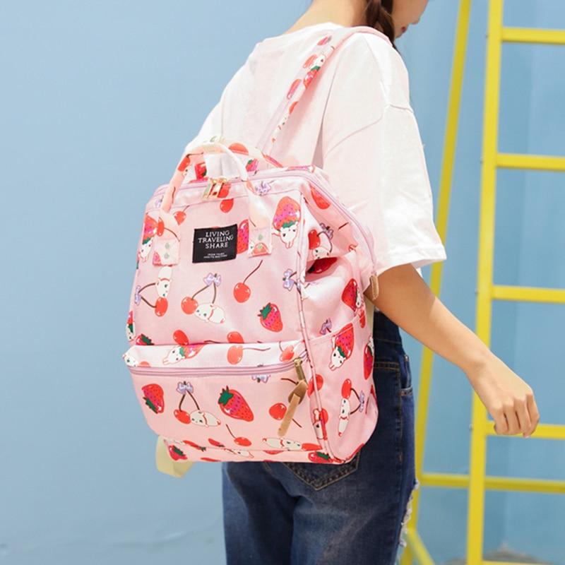 Japanese Style Harajuku Backpack Girl School Bags Women Cute Cartoon Ulzzang Travel Shoulder Bag Kawaii Rabbit Printing Backpack