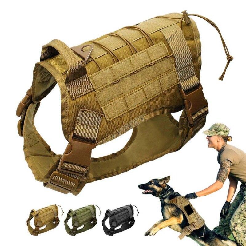 Táctico servicio Chaleco de perro de formación caza Molle de agua-Montura de patrulla militar ajustable perro Arnés con manejar caza