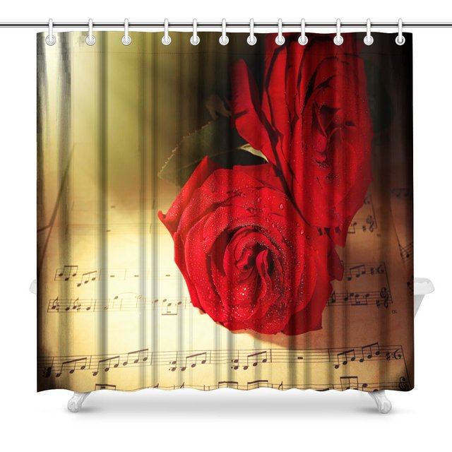 Aplysia Beautiful Red Roses On Music Sheets Fabric Bathroom Shower