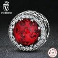 VOROCO 3 Cor Atacado 925 Sterling Silver Clássico Forma Redonda Encantos DIY fit Pandora Pulseiras Mulheres Bijuterias PS339