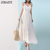 Strap V Neck White Lace Sexy Dress Women Backless Elegant Spring Summer Hollow Out Maxi Long