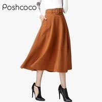 Poshcoco Vintage With Belt Lining High Waist Women Wool Long Skirt 2017 Warm Winter A Line