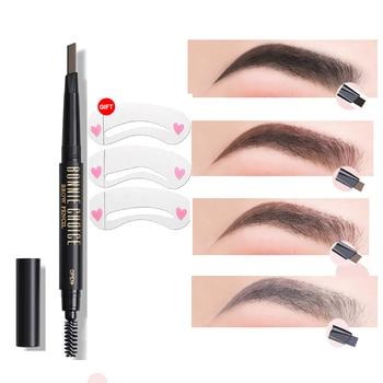 BONNIE CHOICE Eyebrow Pencil Long Lasting Waterproof Automatic Eyebrow Pen Eye Brow Tint 3Pcs Stencils Grooming Kit Makeup Tool