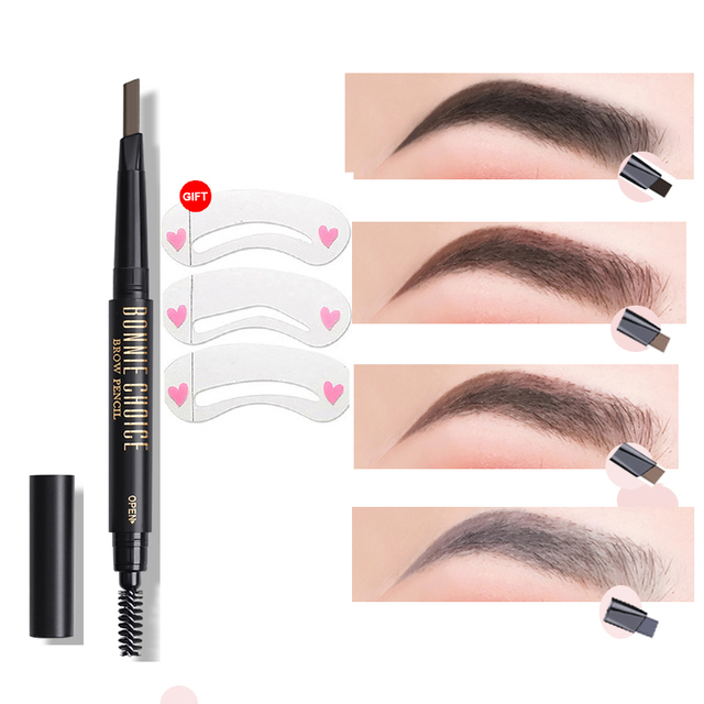 BONNIE CHOICE Eyebrow Pencil Long Lasting Waterproof Automatic Eyebrow Pen Eye Brow Tint 3Pcs Stencils Grooming Kit Makeup Tool