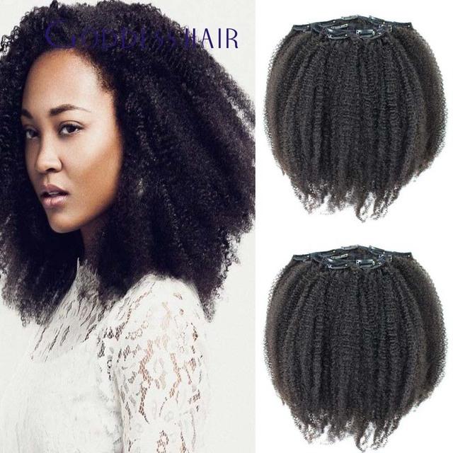 Promociones 100 brasileña extensiones de cabello humano 120g 7 unids/set Africano afro kinky rizado clip en trama del pelo envío gratis