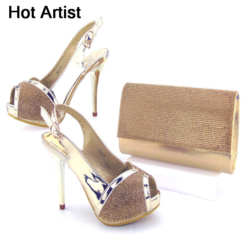 Hot Artist European Style Elegant Rhinestone Shoes And Bag Set Itailan Fashion High Heel Shoes And Bag Set For Party TX-562