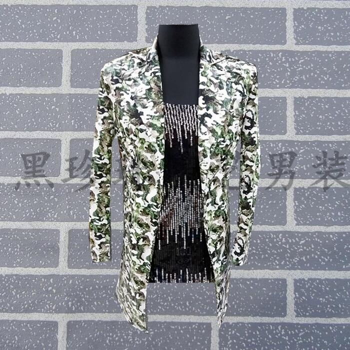 Camouflage Long Design Suits Men Stage Clothes Masculino Homme Terno Costumes For Singers Jackets Men Blazer Dance Fashion