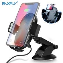 Raxfly автомобиля Беспроводной Зарядное устройство для iPhone X 8 7 плюс 10 Вт быстро Qi Беспроводной Зарядное устройство для samsung S9 S8 2 в 1 Автомобильный держатель телефона стенд