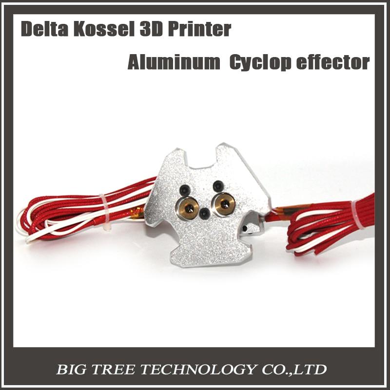 Delta Kossel 3D printer aluminum Cyclop/Chimera effector + Chimera hot end assembly kit 1.75mm filament for kossel 3d printer delta kossel 3d printer aluminum cnc metal cyclop chimera effector chimera hot end assembly kit set for kossel 3d printer