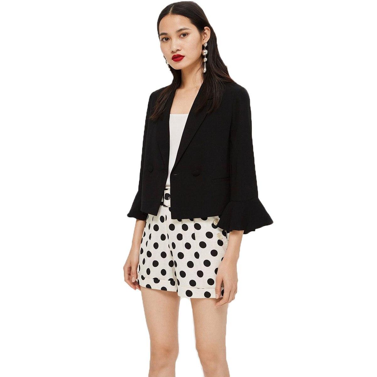 2019 Spring Simple Turtleneck Collar Single-Grain Seven Cent Sleeve Edge Decoration Pure Color Short Black Suit Jacket Coat