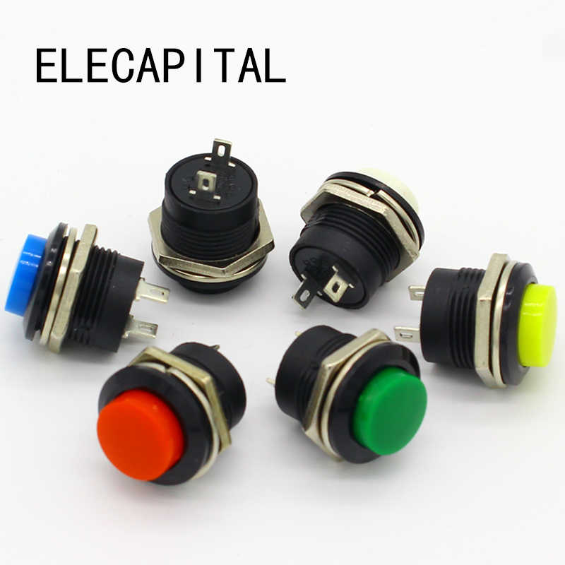 6 pcs R13-507 Momentary SPST NO Red Round Cap Push Button Switch AC 6A/125V 3A/250V 6color