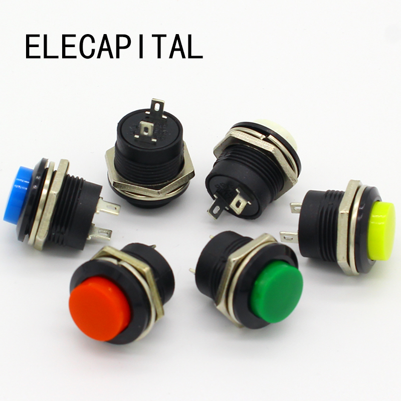 6 pcs R13-507 Momentary SPST NO Red Round Cap Push Button Switch AC 6A/125V 3A/250V 6color