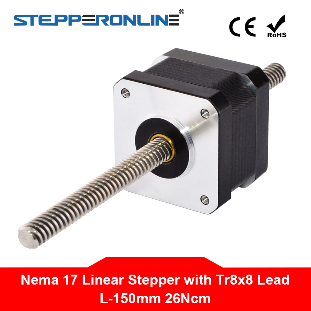 150mm Length Nema 17 Non captive Linear Stepper Motor 0 4A 4 wire with Tr8x8 Lead
