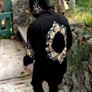 Image 3 - 2019 가을 새로운 디자인 꽃 인쇄 후드 티 남성 힙합 멋진 남성 후드 풀오버 남성 운동복 Streewear Hombres Sudaderas