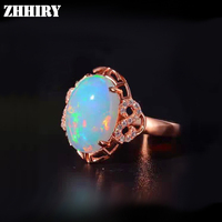 Women natural opal stone ring Genuine solid 925 sterling silver Big fire colour opals 10*14mm gem jewelry rings