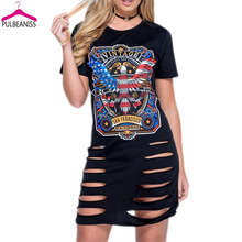 PULBEANISS Vestido De Verano 2017 Woman Summer Dresses Print Short Sleeve Clothes for Women Femme Holes Sexy Party Tshirts