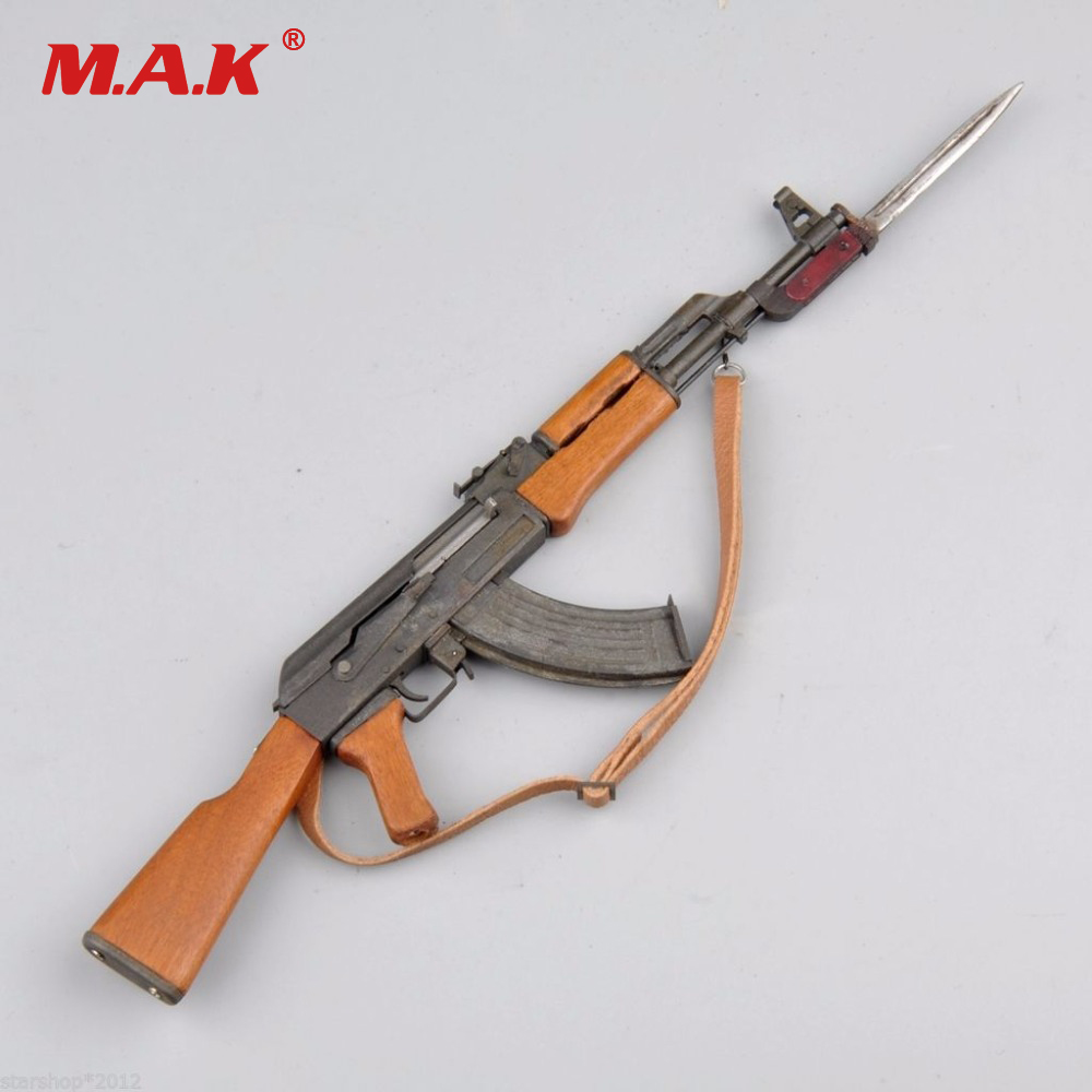 1/6 Scale Model Weapon Toys Metal AK47 Model Kit With Bayonet for 12 inches Military Action Figure Soldier Toys Parts Accessory 1 6 scale rifle gun model for 12 inches action figure accessories collections x80028 m700pss x80026 psg1