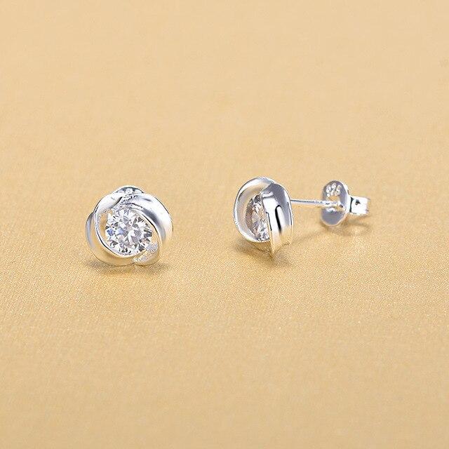 Модные женские серьги гвоздики из стерлингового серебра 925