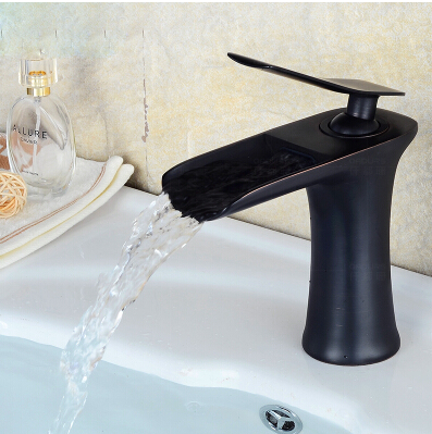 New arrival total brass black ORB finished bathroom sink faucet,single lever hot and cold waterfall basin faucet water tap mixer new arrival chrome and black finished bathroom single lever hot and cold sink faucet basin tap mixer