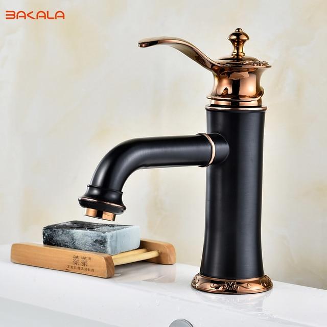 Bakala Black Fashionable Tap Bathroom Mixer Single Handle Hole Surface Mounted Sink Faucet Br