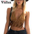 Viifaa Camurça Do Falso Bustier Cropped Top curto Mulheres 2017 Verão Sexy Halter Bralette Encabeça Borla Camisola