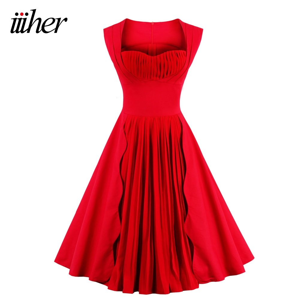 iiiher Vintage Dress Summer Women Red Party Dresses A Line ...