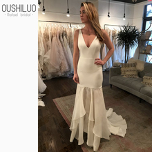 Simple Bohemia Beach Long Wedding Dress Gown 2019 New Summer V Neck Satin Top Chiffon Skirt Sweep Train Elegant Bridal Dresses