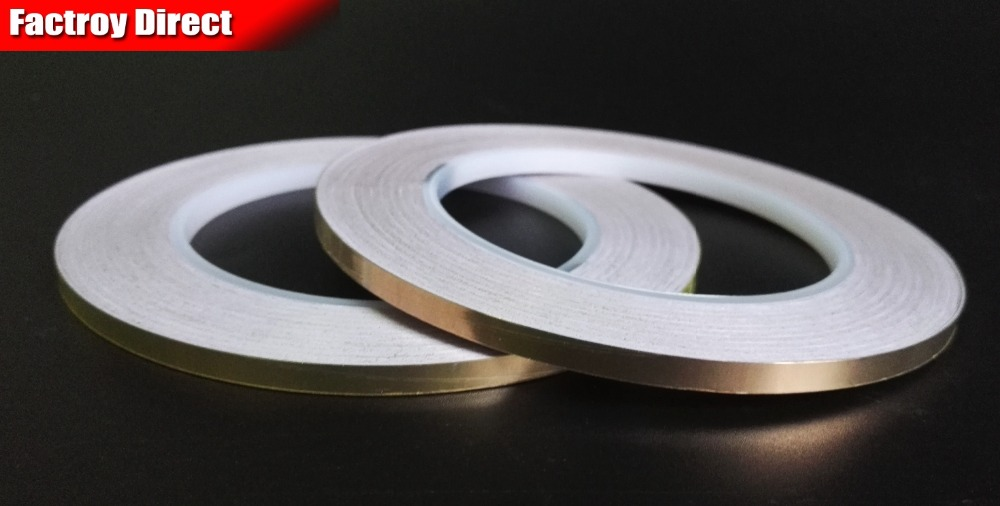 1 Roll 3MM*30M Single Adhesive Conductive Copper Foil Tape EMI Shield Copper Strip  BGA Work, Stained Glass Work, Free Shipping