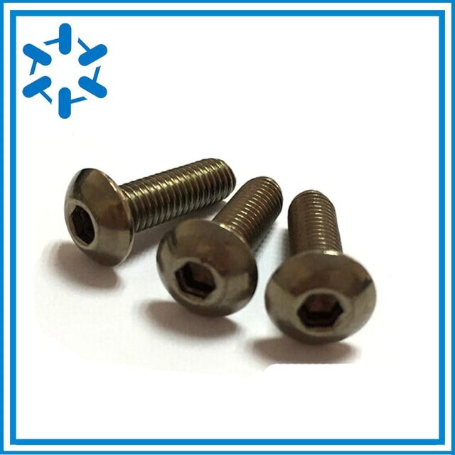 50pcs Pure Titanium button head socket screw Ti GR2 ISO7380 M3*3/4/5/6/8/10/12/14/15/16/18/20/22/23/24/25/26/27/35/40/44/45/50