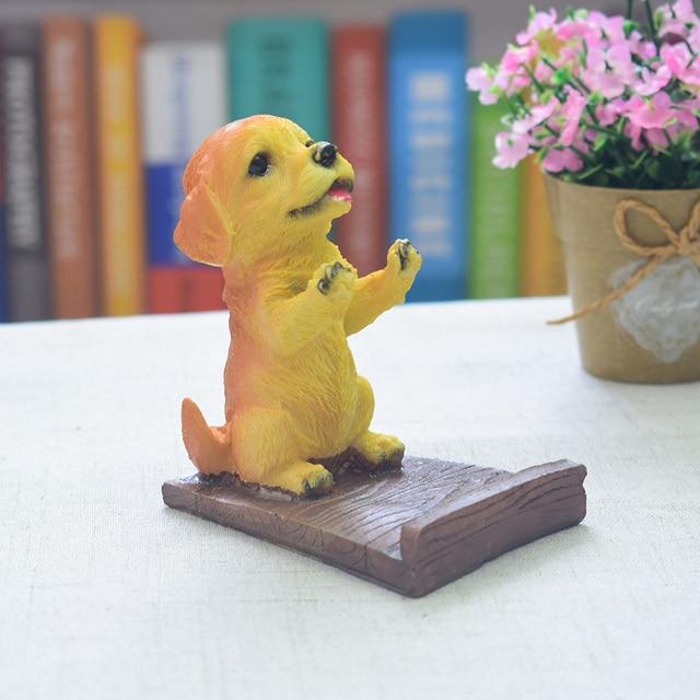 Artesanato Decoração Da Casa Estátua Modelo Bracket Suporte Phone Holder Resina Presente Desktop Tablet Apoio Pug Filhote de Cachorro Do Cão de Estimação Bonito