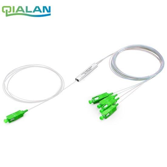 10 pièces 1x4 séparateur De Fibers Optiques PLC 0.9mm Tube En Acier SC/APC Mini Blockless SC APC Connecteur