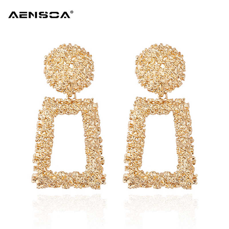 AENSOA Big Vintage Earrings For Women Fashion Geometric Metal Earrings Hanging Gold Silver Trend imitation Statement ZA Jewelry