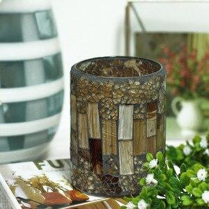 DFL полоса шаблон трещина мозаика стекло беспламенный столб СВЕТОДИОДНЫЙ Воск свеча свет с таймером, украшения дома, многоцветный, 3x4 дюйма