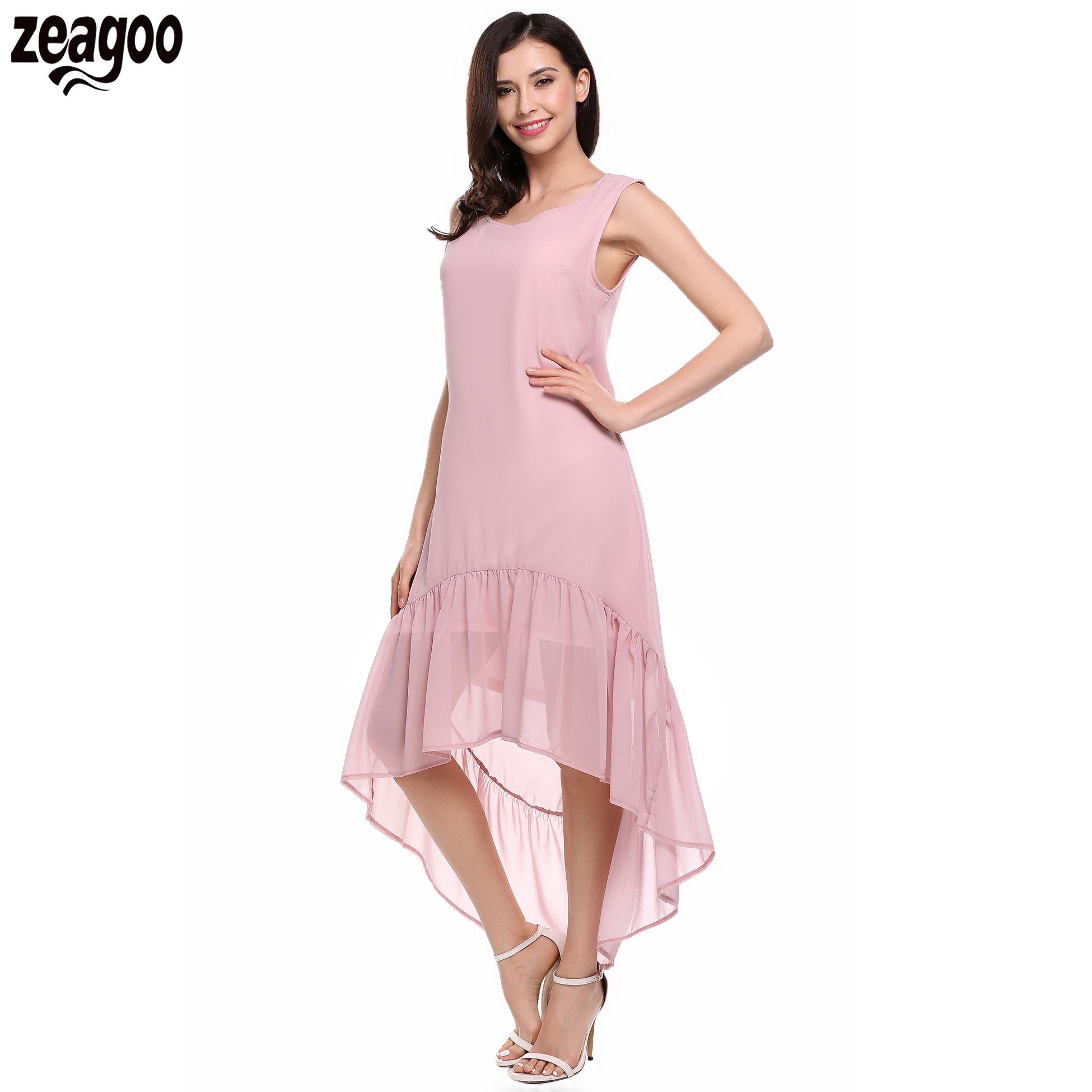 5e27bc90719 Zeagoo Women Dresses Chiffon O-Neck Sleeveless Solid High Low Ruffles Hem  Full Length Casual Dress Party Beach Vestido Plus Size