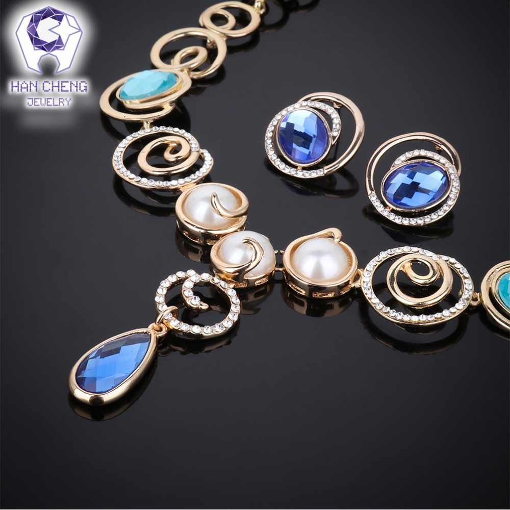 HanCheng Fashion Luxury Water Drop Pearl Necklace Rhinestone Ear rings Necklace Crystal Women Jewelry Sets & more Golden Chain
