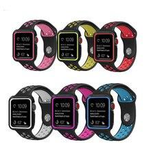Esporte Silicone strap para apple watch band com Capa Protetora de borracha 42mm 38mm para iwatch série 3/2 /1 wrist band