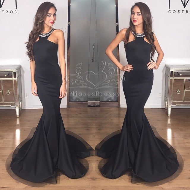 Popular Elegant Black Mermaid Prom Dresses-Buy Cheap Elegant Black ...