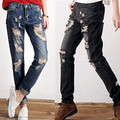 new arrival wearing white hole female loose jeans mid waist skinny pants straight long trousers